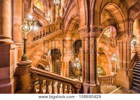 ALBANY, NEW YORK - OCTOBER 6, 2016: The Great Western Staircase of the New York State Capitol Building.