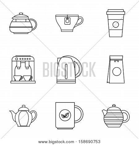Beverage icons set. Outline illustration of 9 beverage vector icons for web