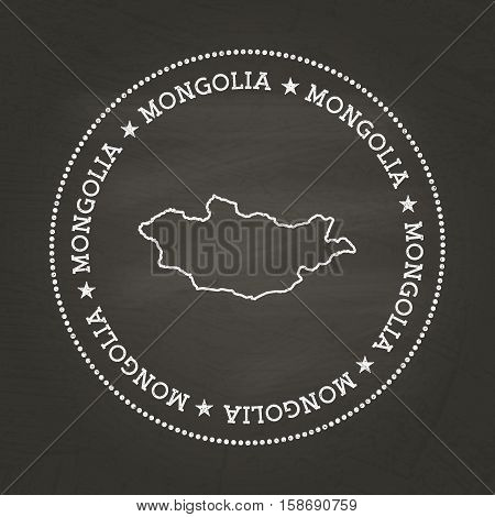 White Chalk Texture Vintage Seal With Mongolia Map On A School Blackboard. Grunge Rubber Seal With C
