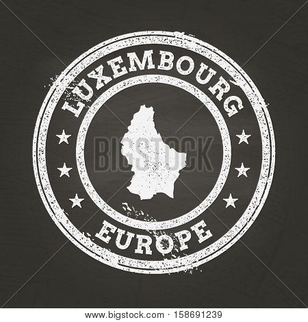 White Chalk Texture Grunge Stamp With Grand Duchy Of Luxembourg Map On A School Blackboard. Grunge R