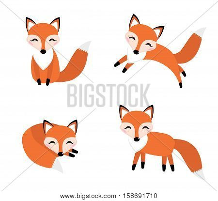 Cute fox set flat style. Foxy in different poses, sleeping, jumping, sitting. Character, mascot Vector illustration