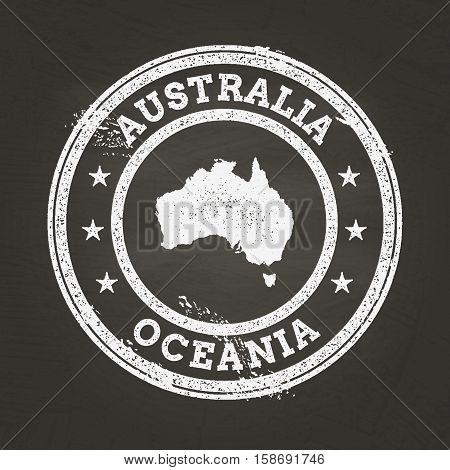 White Chalk Texture Grunge Stamp With Commonwealth Of Australia Map On A School Blackboard. Grunge R