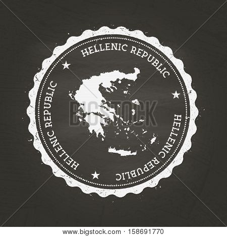 White Chalk Texture Rubber Stamp With Hellenic Republic Map On A School Blackboard. Grunge Rubber Se