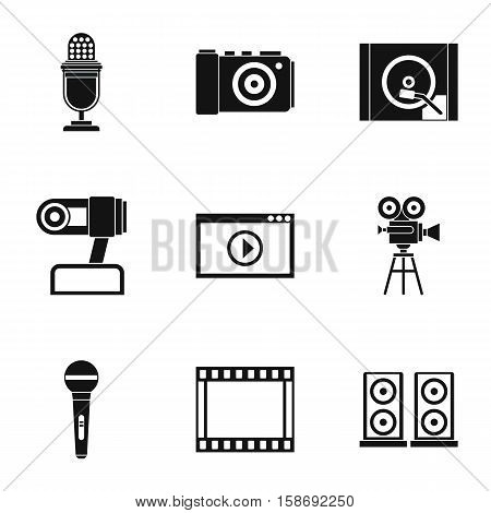 Broadcasting icons set. Simple illustration of 9 broadcasting vector icons for web