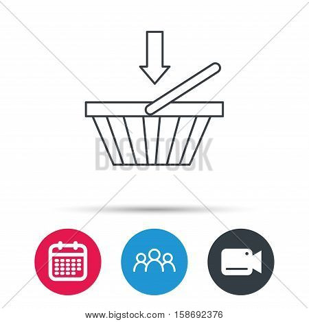 Shopping cart icon. Online buying sign. Group of people, video cam and calendar icons. Vector