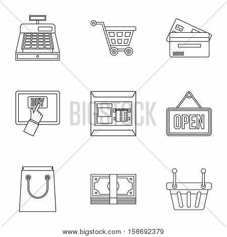 Online purchase icons set. Outline illustration of 9 online purchase vector icons for web