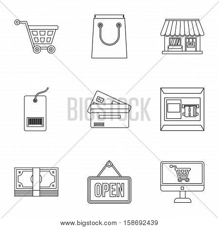 Supermarket buying icons set. Outline illustration of 9 supermarket buying vector icons for web