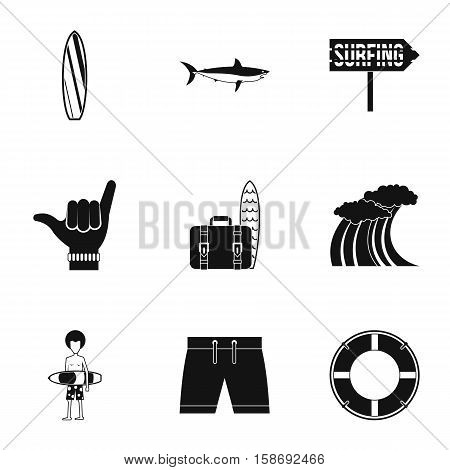Swimming on surfboard icons set. Simple illustration of 9 swimming on surfboard vector icons for web