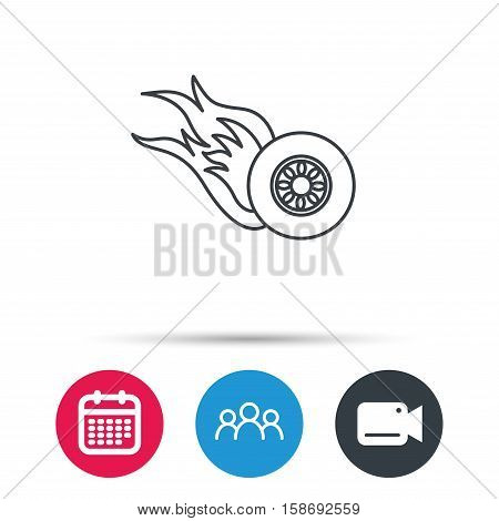 Burning wheel icon. Speed or Race sign. Group of people, video cam and calendar icons. Vector