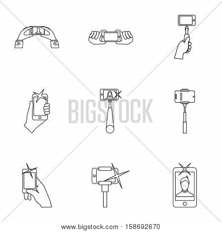 Photo on mobile phone icons set. Outline illustration of 9 photo on mobile phone vector icons for web