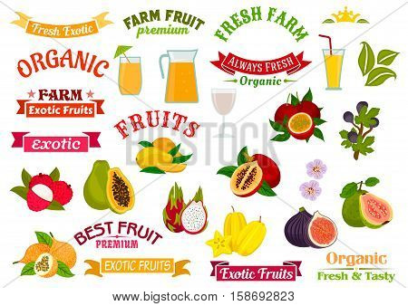 Fruit juice badges set. Organic farm and tropical exotic fruits papaya, orange, lychee, dragon fruit, fig, guava, carambola, passion fruit maracuya. Fruit juice in glass, fruit badge ribbons, symbols