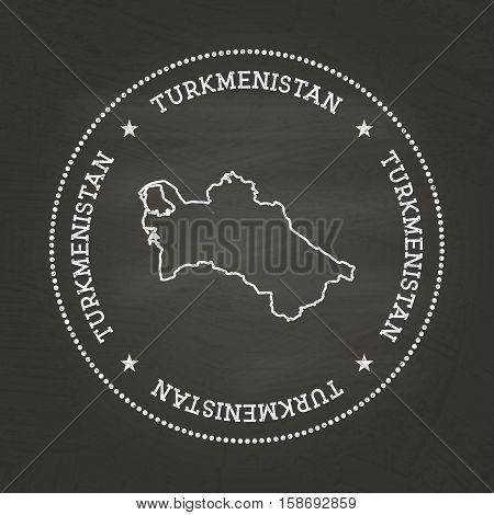 White Chalk Texture Vintage Seal With Turkmenistan Map On A School Blackboard. Grunge Rubber Seal Wi