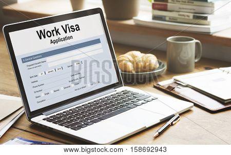 Work Visa Application Employment Recruitment Concept