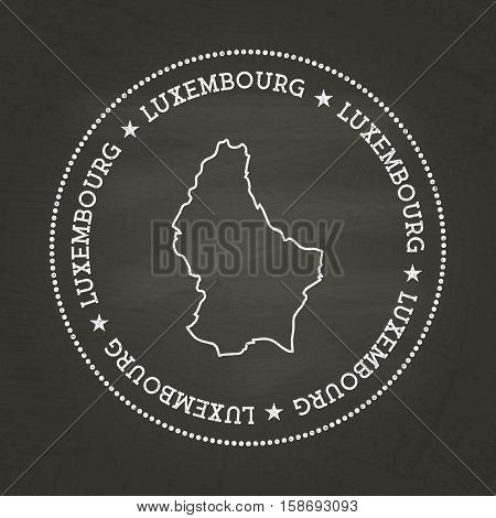 White Chalk Texture Vintage Seal With Grand Duchy Of Luxembourg Map On A School Blackboard. Grunge R