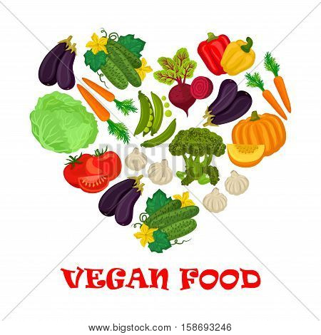 Vegan food poster. Vector heart of cabbage and pea, cucumber, pumpkin and carrot, eggplant and tomato, garlic, beet, pepper and broccoli vegetables icons
