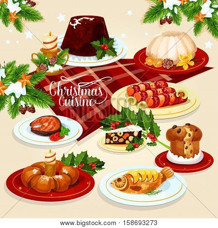 Christmas festive dishes menu icon of xmas pudding, sweet Christmas wreath, stuffed fish, salted salmon, bacon wrapped sausage, raisins sweet bread, fruit and nut panforte with holly berry and candle
