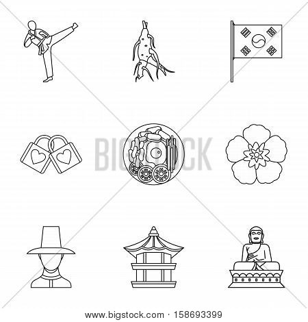 Tourism in South Korea icons set. Outline illustration of 9 tourism in South Korea vector icons for web