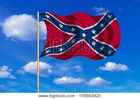 Historical national flag of the Confederate States of America. Known as Confederate Battle Rebel Southern Cross Dixie flag. Patriotic symbol banner. Flag of the CSA waving in the wind blue sky. 3D rendered illustration