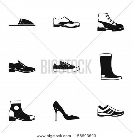 Shoes icons set. Simple illustration of 9 shoes vector icons for web