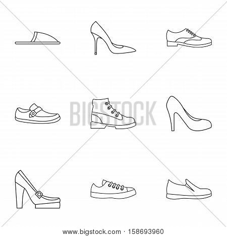 Footwear icons set. Outline illustration of 9 footwear vector icons for web