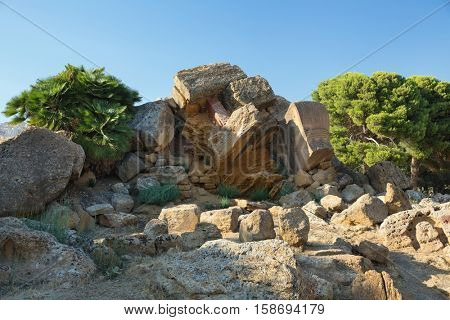 View of the ruins in the Valley of the Temples in Agrigento, Sicily, Italy