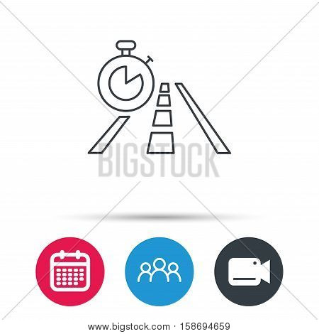 Travel time icon. Road with timer sign. Group of people, video cam and calendar icons. Vector
