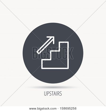 Upstairs icon. Direction arrow sign. Round web button with flat icon. Vector