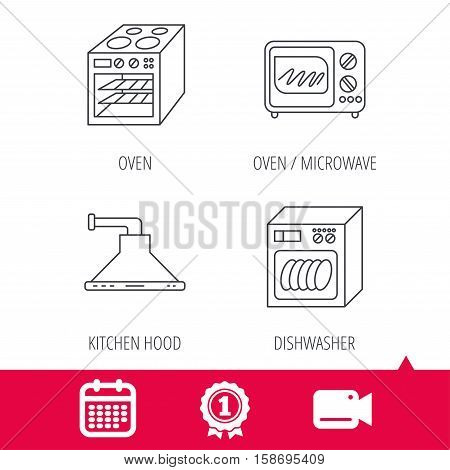 Achievement and video cam signs. Microwave oven, dishwasher and kitchen hood icons. Oven linear sign. Calendar icon. Vector