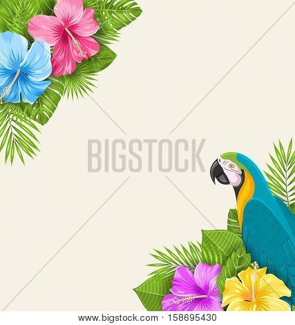Illustration Summer Exotic Background with Parrot Ara, Hibiscus Flowers and Palm Leaves - raster