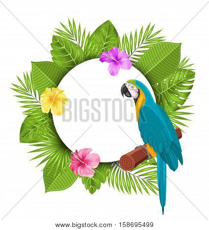 Illustration Beautiful Card with Parrot Ara, Colorful Flowers Blossom and Tropical Leaves - raster