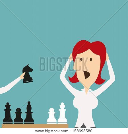 Woman losing in game by chess knight. Businesswoman manager with hands on head shocked, stressed, stricken in panic of being defeated in checkmate. Vector business metaphor of sudden defeat by competitor in competition poster