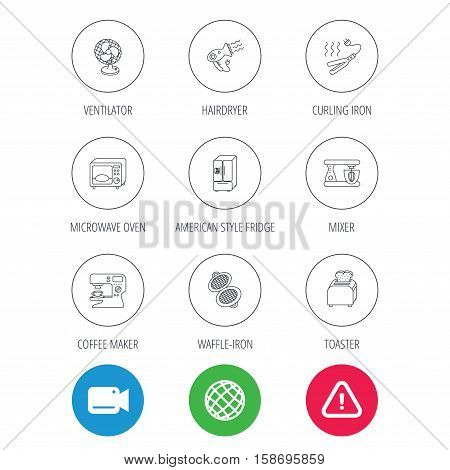 Microwave oven, hair dryer and blender icons. Refrigerator fridge, coffee maker and toaster linear signs. Ventilator, curling iron and waffle-iron icons. Vector