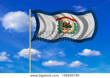 Flag of the US state of West Virginia. American patriotic element. USA banner. United States of America symbol. West Virginian flag on flagpole waving in the wind blue sky background. Fabric texture. 3D rendered illustration