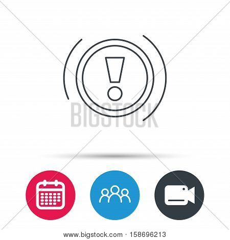 Warning icon. Dashboard attention sign. Caution exclamation mark symbol. Group of people, video cam and calendar icons. Vector