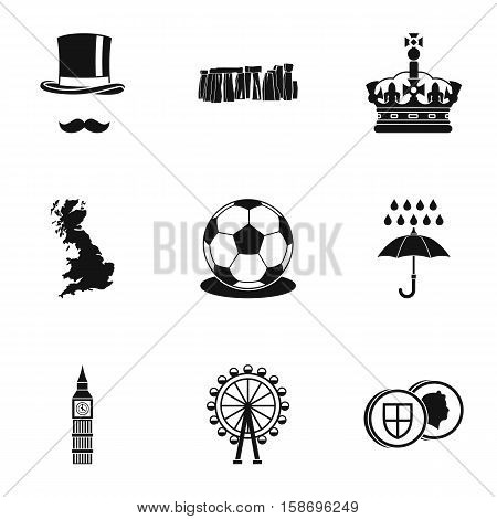 United Kingdom icons set. Simple illustration of 9 United Kingdom vector icons for web