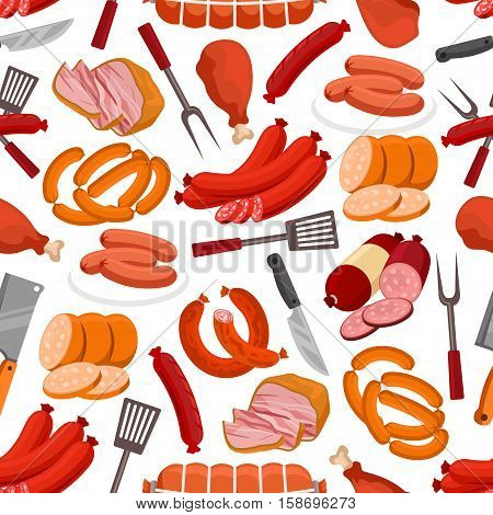Meat delicatessen pattern. Vector seamless background of sausages, smoked bacon and roast beef, beef steak, ham and pork wurst, salami and schnitzel, grilled chicken leg and grill fork, knife, spatula