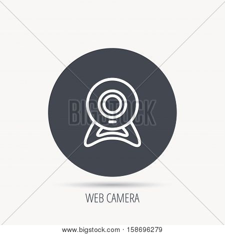 Web cam icon. Video camera sign. Online communication symbol. Round web button with flat icon. Vector