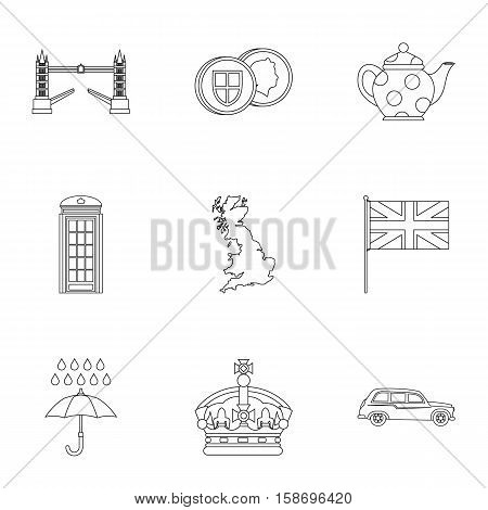 Attractions of United Kingdom icons set. Outline illustration of 9 attractions of United Kingdom vector icons for web