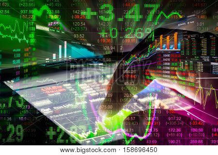 Stock Market Indicator And Financial Data View From Led. Double Exposure Financial Graph And Stock I