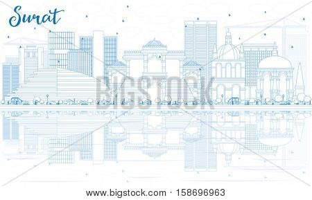 Outline Surat Skyline with Blue Buildings and Reflections. Vector Illustration. Business Travel and Tourism Concept with Historic Architecture. Image for Presentation Banner Placard and Web Site.