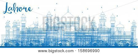 Outline Lahore Skyline with Blue Landmarks. Vector Illustration. Business Travel and Tourism Concept with Historic Architecture. Image for Presentation Banner Placard and Web.
