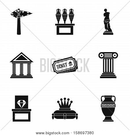 Stay in museum icons set. Simple illustration of 9 stay in museum vector icons for web
