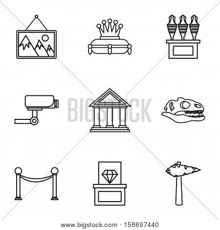 Gallery in museum icons set. Outline illustration of 9 gallery in museum vector icons for web