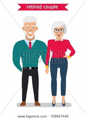 Retired couple in creative flat vector character design.  Man and woman hold each other's hands and smiling. Illustration on white background.