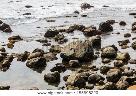 Rocks and boulders at the Point Loma tidepools in San Diego, California.
