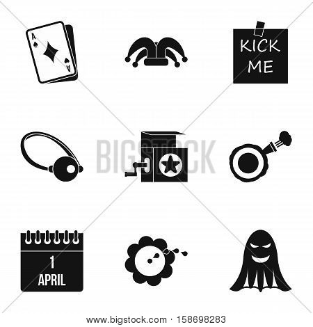Funny joke icons set. Simple illustration of 9 funny joke vector icons for web