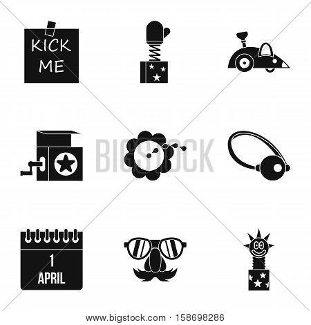 Joke icons set. Simple illustration of 9 joke vector icons for web