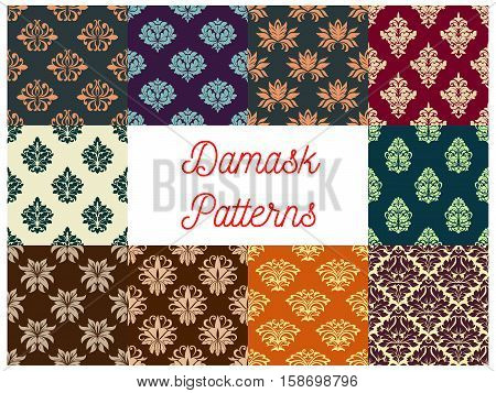 Damask patterns set. Vector floral backgrounds of flowery ornate motif. Flourish seamless tiles