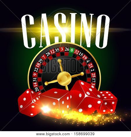 Casino poster of vector wheel of fortune roulette, gaming dices with gold glittering light