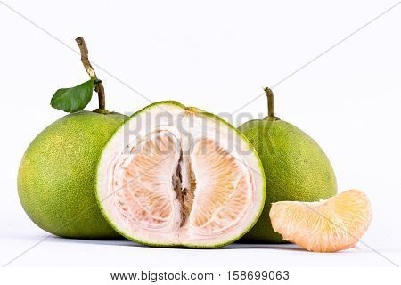 fresh green pomelos peeled on white background healthy fruit food isolated